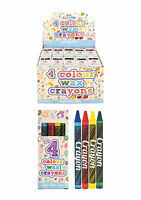 1 - 1000 Pack 4 Mini Colouring Wax Crayons Kids Lucky Dip Party Bag Toys Fillers