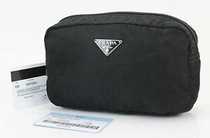 Authentic PRADA Black Nylon Cosmetic Pouch Bag #38532B