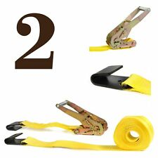 "TWO Ratchet Strap Cargo Tie-Downs, 2""x27' Heavy-Duty, Flat Hook 