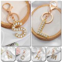 1PC A-Z Alphabet Key Ring Holder Rhinestone Bag Pendant Keychain Fashion