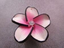 Hawaii Plumeria Flower Polymer Clay w/ Rhinestone 35mm Black/Pink Pendant 1pc