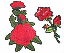 2 Red Flowers Embroidered Sew, Iron On Patch for Clothes, Jeans DIY Appleque