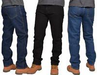 Men Denim Jeans Straight Leg Basic Heavy Work Trousers Pants All Waist Sizes