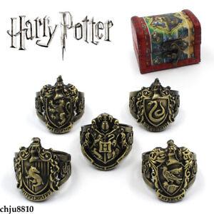 Harry Potter Ring Gryffindor Hufflepuff Ravenclaw Slytherin logo Retro Ring 5pcs