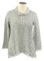 STYLE&CO 2X black/white boucle long sleeve cowl neck loungewear top