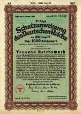 DEUTSCHES Reich Schatzanweisung 1941 Berlin Adler 1000 RM Schultzenstein Kupons