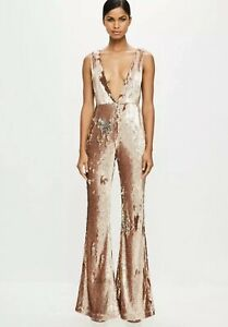 Missguided Gold Sequin Jumpsuith Uk 4