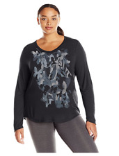 NWT Just My Size 2X  Light Weight L/S V Neck Glitzy Graphic Tee Top Black Multi