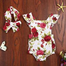 Baby Girl Cute Floral Printed Halter Sleeveless Romper and Headband Outfit