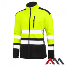 Hi Vis Viz Visibility Fleece Jacket Safety Work Mens Warm