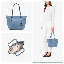 NWT MICHAEL KORS MK JET SET Top Zip Tote Leather Shoulder Bag Purse Sky $298