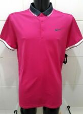 NEW Nike Mens Tennis Dry-Fit Tipped Polo Shirt, Cerise Pink - L
