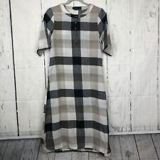 Roolee Size S Jolie Plaid Shirt Dress Midi Length Black White A Line Side Slits