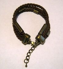 Lovely Material rope style brown 3 strand bronze tone metal fittings 8 - 10 ins
