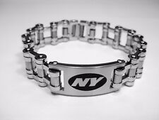 NFL New York Jets Stainless Steel Bike Chain Logo ID Bracelet