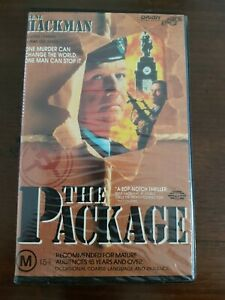1989 FILM. THE PACKAGE. VHS. CLAMSHELL. ROADSHOW PREMIERE. GOOD CONDITION