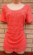NEW LOOK PEACHY PINK CROCHET LACE FRONT SLIP INSIDE BLOUSE T SHIRT TUNIC TOP 10