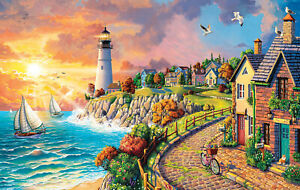 LIGHTHOUSE BY THE SEA by Image World - SunsOut 550 piece puzzle -  NEW
