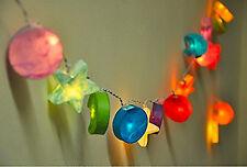 Paper Mache 3D Star Moon Fairy Light String Nursery or Kids Room