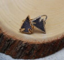 Double Natural Druzy Geode stone sterling silver gold plated Ring Arrowhead