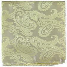 New Brand Q Men's  micro fiber Pocket Square Hankie Only paisley Yellow prom