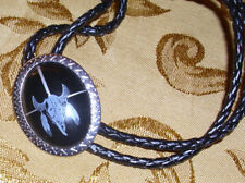 """Silver Trim Size 2 1/2"""" X 1 1/4"""" Bolo Tie Steer Skull & Feather Black Background"""