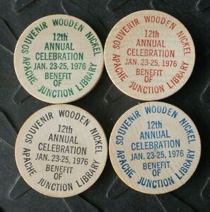(4) 1976 APACHE JUNCTION ARIZONA LIBRARY LOST DUTCHMAN DAYS WOODEN NICKEL