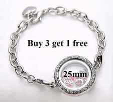 Silver Crystal Round Living Memory Locket Bracelet For Floating Charms - 25mm
