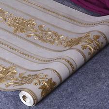 Luxury Grey Metallic Gold Texture Vinyl Damask Wallpaper Roll Home Decor DIY