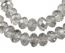 20 x 10 mm GRIS CRYSTAL à facettes boulier verre beads-gb25