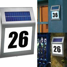 Solar Powered Led Illuminated House Door Number Light Wall Plaque Modern Sleek