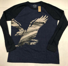 Mens American Eagle Navy Gray Long Sleeve Thermal Sleeve Tshirt Large