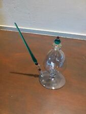 """Outstanding Art glass inkwell with the 8"""" long glass pen [Y8-W7-A9]"""