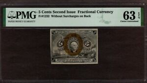 5 Cents 2nd Issue Fractional Currency, Fr1232, PMG 63 EPQ, NICE!!
