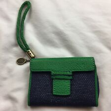 Pilcro & The Letterpress Wristlet Wallet Nylon & Leather Blue Green Woven Strap