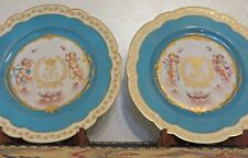 Antica coppia di Piatti in porcellana Sevres - angeli con iniziali LF