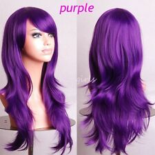 Cosplay Wigs Long Layer Wavy Hair Full Wig Cosplay Costume Amine Wig Purple apk