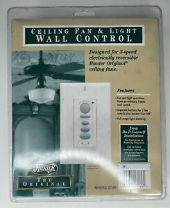 Hunter 27189 Ceiling Fan Control Switch Remote Light Wall Mount White NEW SEALED