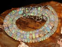 """Natural Ethiopian Welo Fire Opal bead necklace 3to5 mm 16""""+1.5"""" silver extender"""
