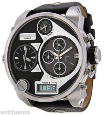 Diesel DZ7125 Black Dial Leather Strap Chronograph Dual Men's Watch