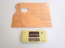 Vintage Guitar Tin Water Colour Cake Color Art Supplies w/ Academe Palette Paper