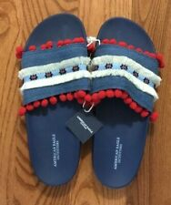 AMERICAN EAGLE RED WHITE BLUE SLIDES NEW SIZE 7