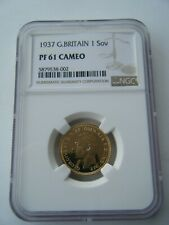 More details for 1937 sovereign king george vi ngc pf61 cameo proof full gold sovereign coin