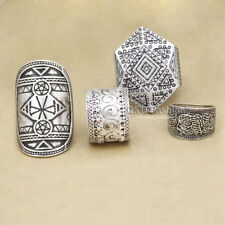 Pack 4 Men Silver Tribal Celtic Pentacle Triangle Wicca Pagan Etched Band Ring C