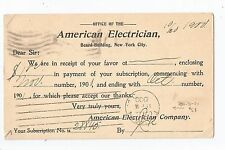 American Electrician Magazine Subscription Ad Postcard 1900