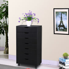 Removable Storage  Cabinet 7 Drawers Chest for Closet/ Office 4 Casters Black