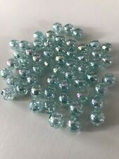 200 Pcs 8mm Light Blue bead acrylic round spacer beads jewelry round crackle 99b