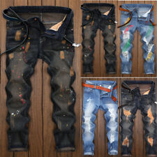 Men Stylish Ripped Jeans Pants Biker Skinny Slim Straight Denim Trousers