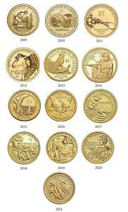 2009-2021 Sacagawea Native American 13 Coin BU Uncirculated Dollar Set