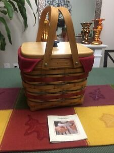Longaberger 2007 Picnic Tote Basket Combo w Liner and Lid Early Harvest
